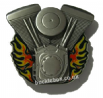 ENGINE & FLAMES Belt Buckle + display stand. Code HD8